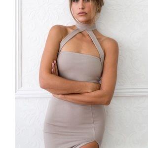 Taupe bodycon mock neck dress